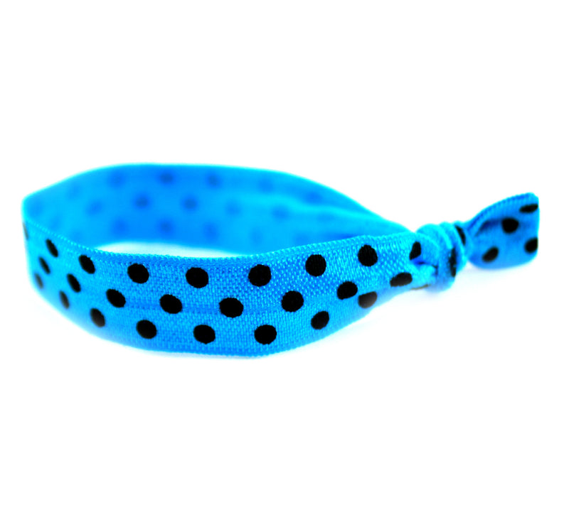 Polka Dots Teal Black Hair Tie (SKU 6015)
