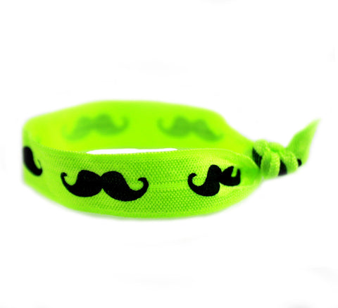 Mustache Neon Green Hair Tie (SKU 6022)
