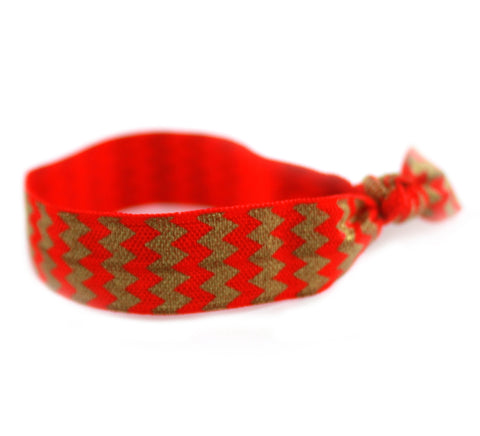 Chevron Red Gold Hair Tie (SKU 6028)
