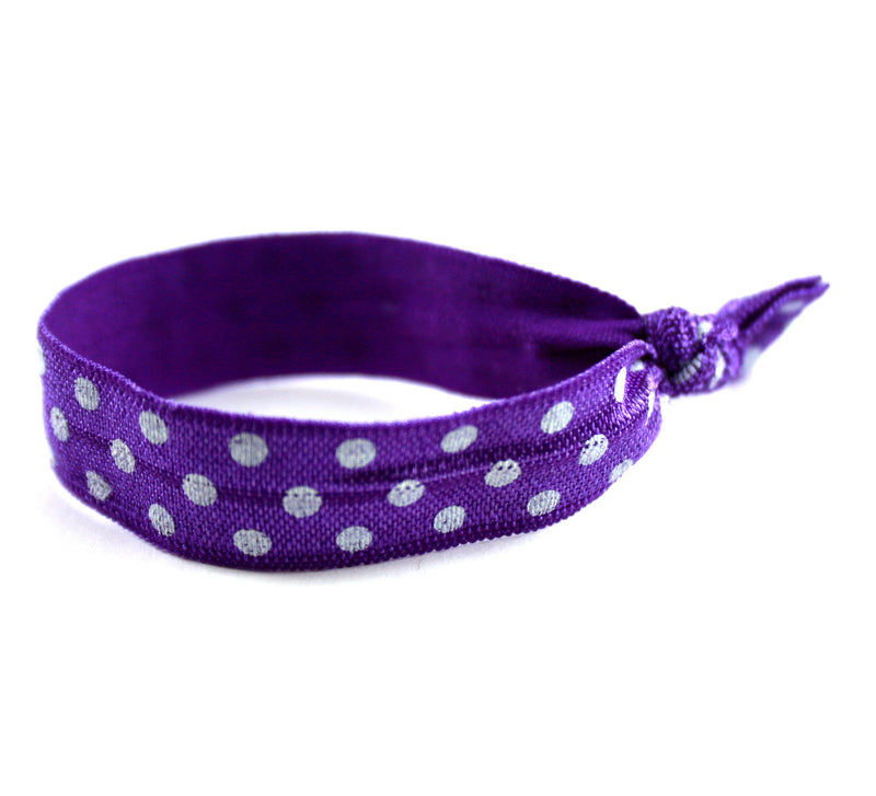 Polka Dots Purple White Hair Tie (SKU 6033)