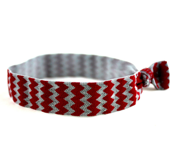Chevron Maroon Grey Hair Tie (SKU 6078)