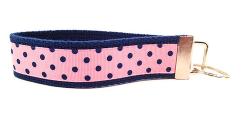 Polka Dots Small Navy Pink Keychain (SKU 1187 KC)