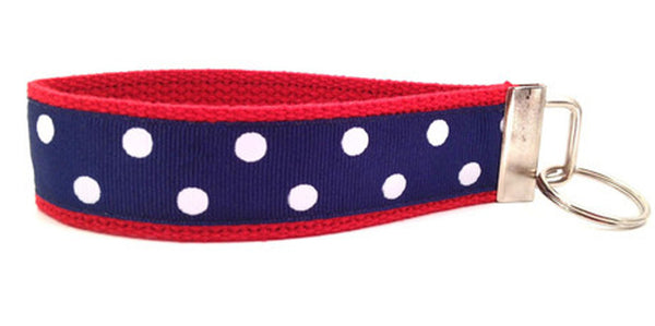 Polka Dots Red Navy Keychain (SKU 1186 KC)