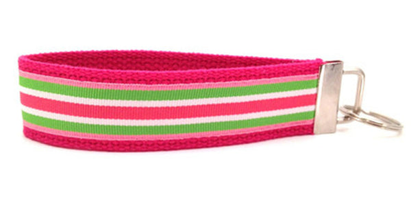 Stripes Hot Pink Green Keychain (SKU 1248 KC)