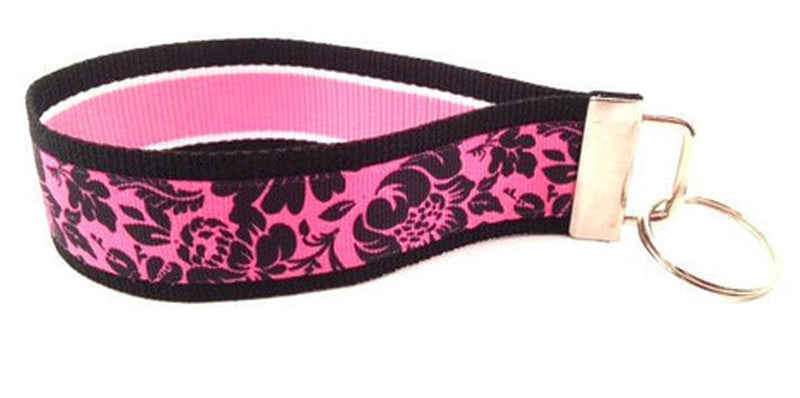 Floral Hot Pink Black Keychain (SKU 1091 KC)