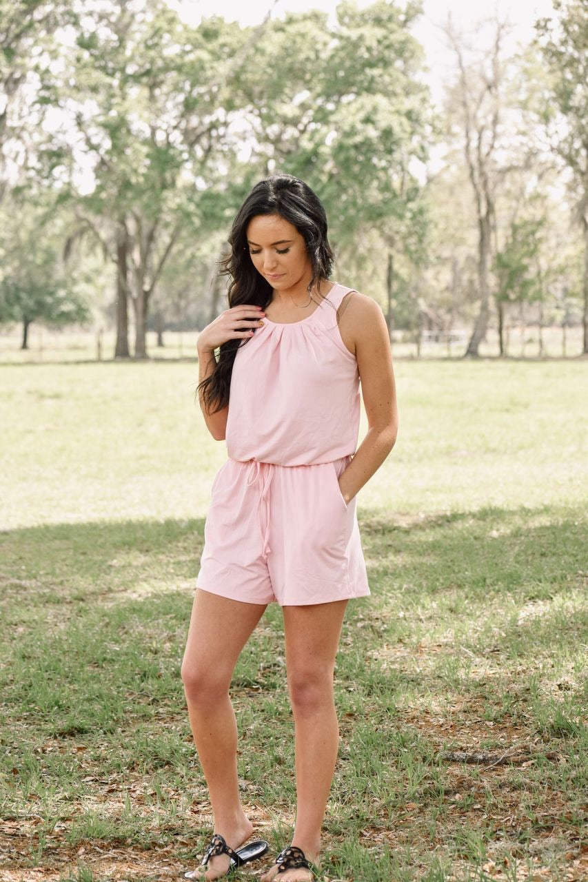 Queen Of Hearts Romper : Light Pink