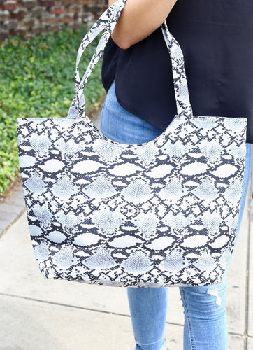 Snake Skin Grey Tote with Zipper