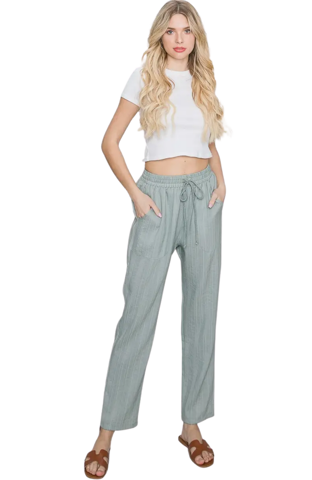 Avery Blue Textured Slacks