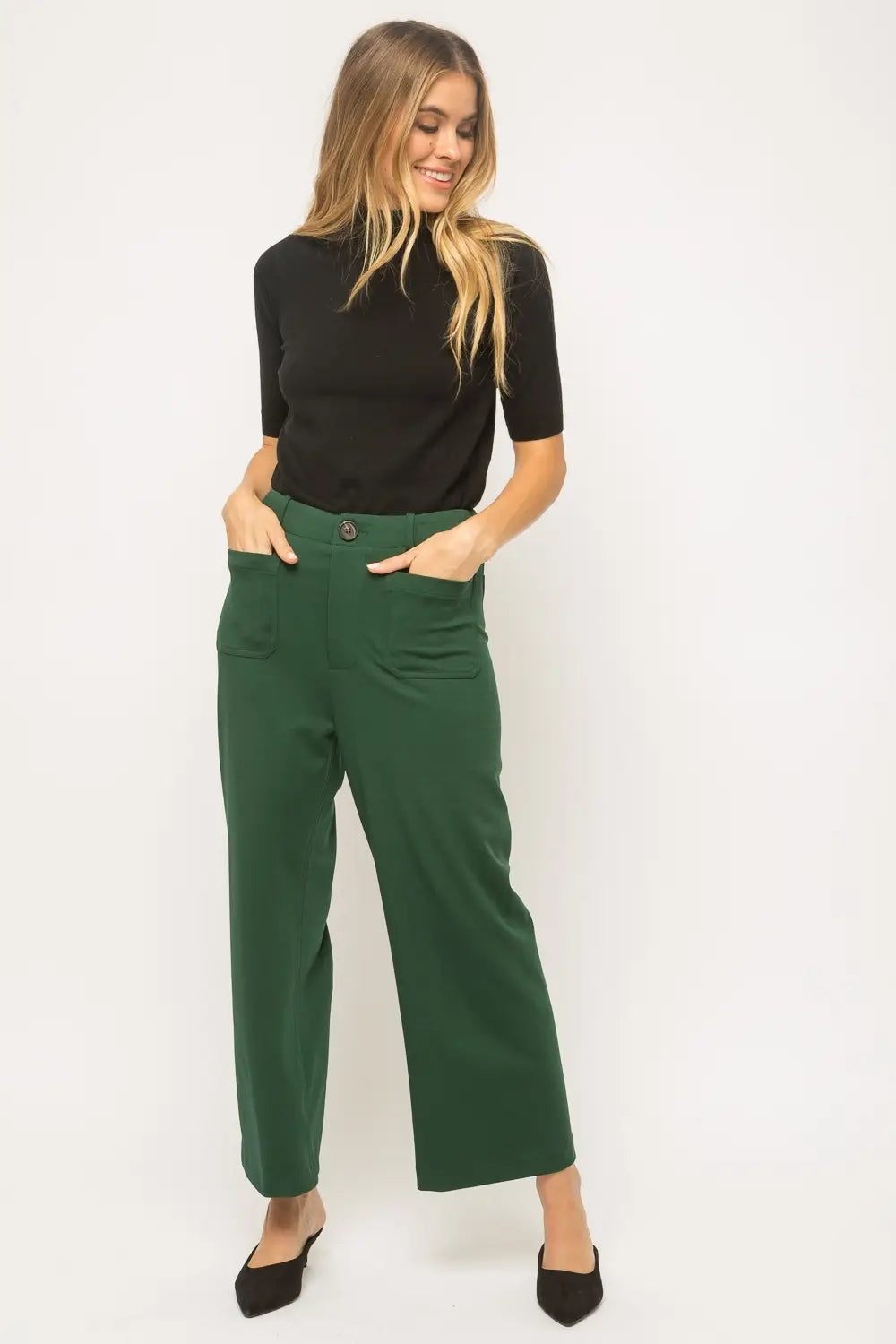 Ash Wide Leg Cropped Trousers Forest Green