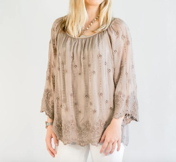 Azurra Taupe Silk Embroidered Blouse