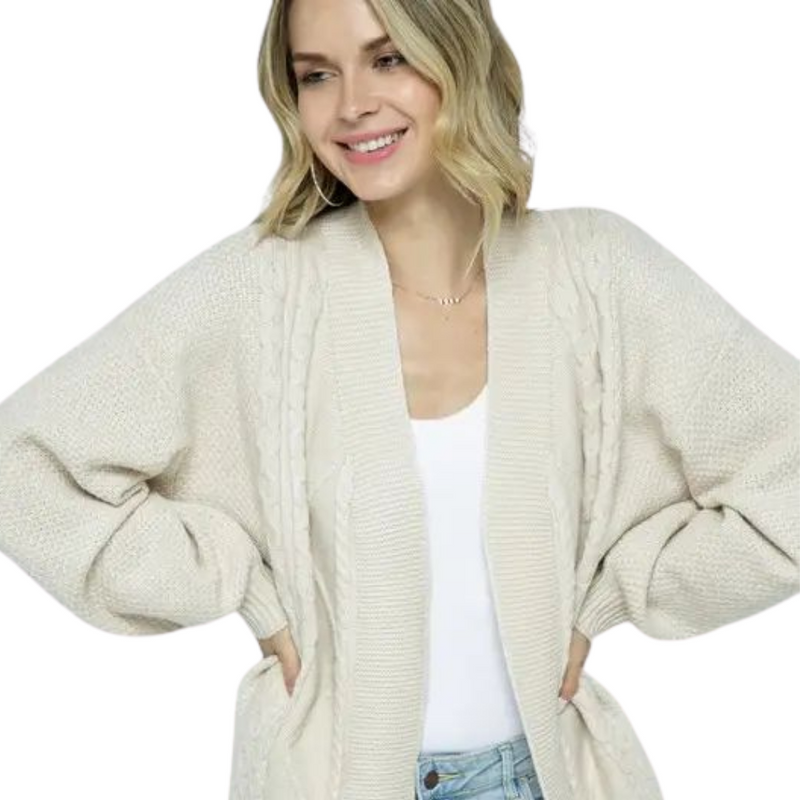 Cally Ivory Cable Knit Open Knit Cardigan
