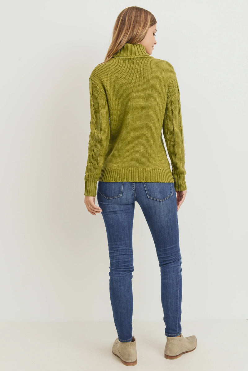 Cassie Cable Knit Sweater Olive