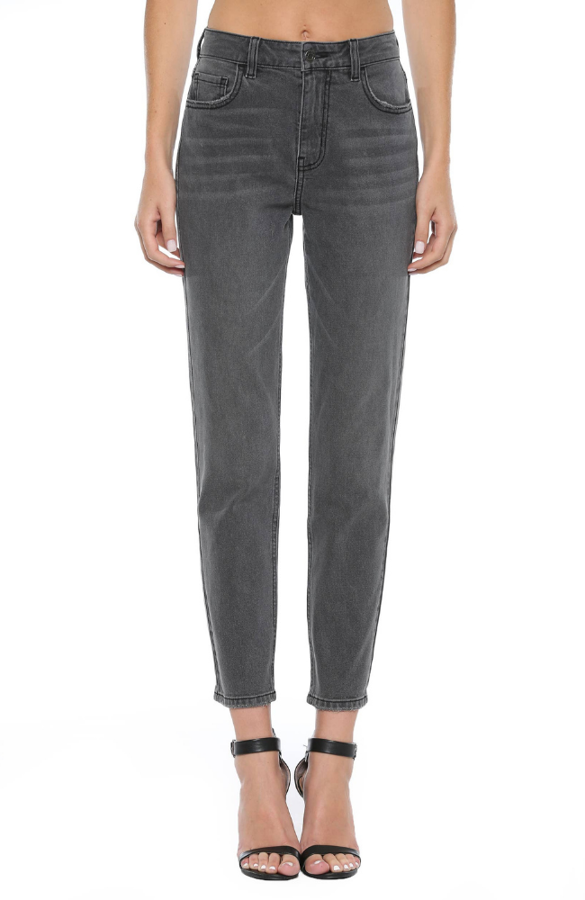 Cello Jeans Grey Wash High Rise Straight Leg Jeans