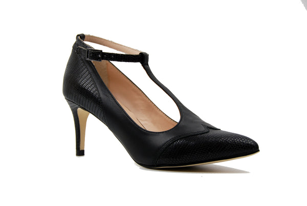 Sacha London Acacia Black T-Strap Pump