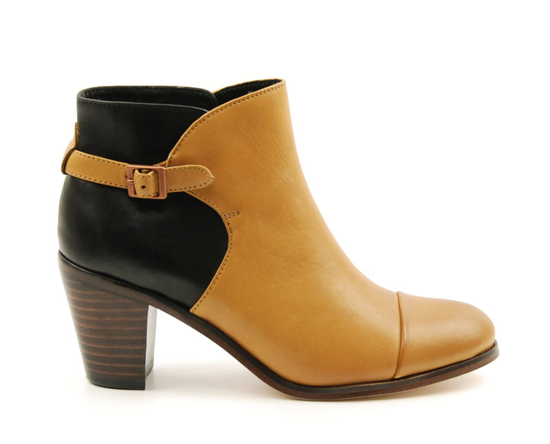 Wolverine Artist Heel Black and Tan Leather Ankle Boot