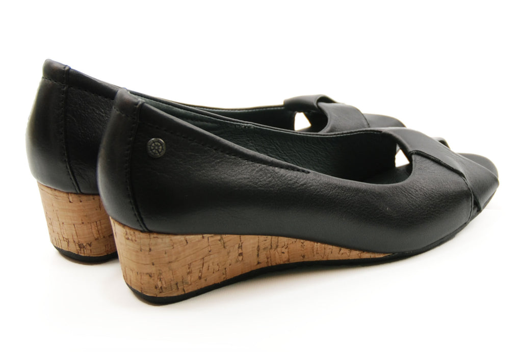Bussola Tampere Pump Black Wedge Sandal