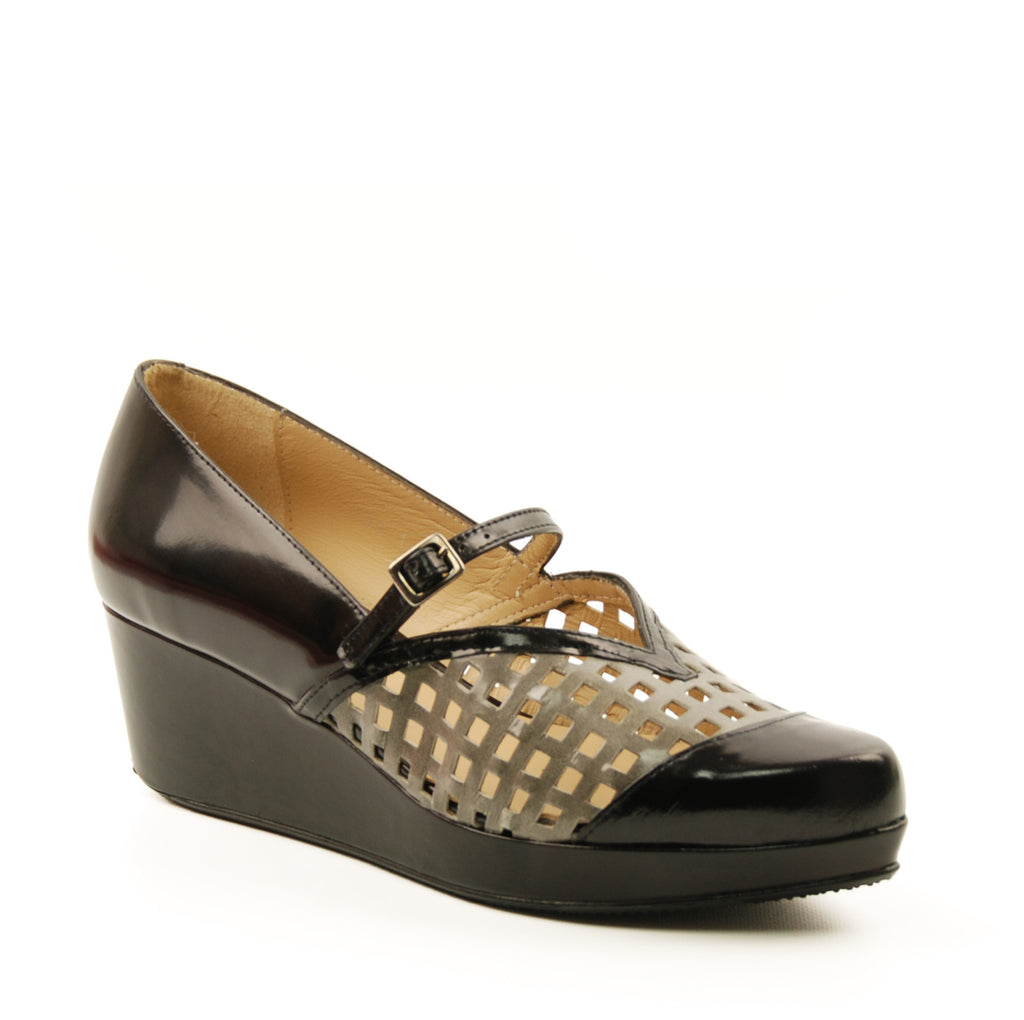 Audley 17315 Black Devia Leather Wedge