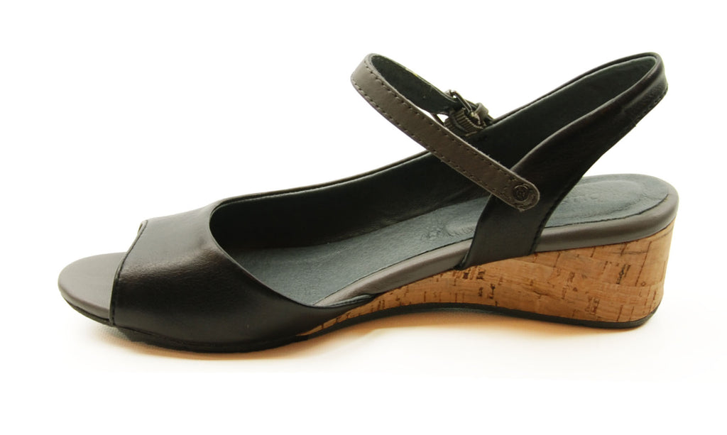 Bussola Tampere Black Slingback Wedge Sandal
