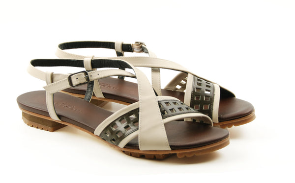 Audley 17309 Juliette Vaqueta Off-White & Brown Flat Sandal