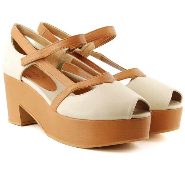 Eva vs. Maria Sol Tan/Cream Heeled Sandal
