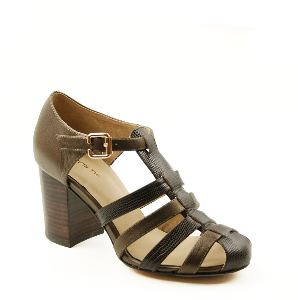 All Black Coffee Gladiator Pump Sandal