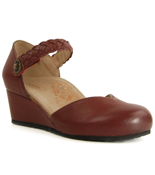 Aetrex Mia Burgundy Wedge Sandal