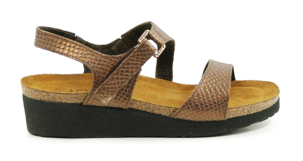 Naot Pamela Brown Lizard Leather Sandal