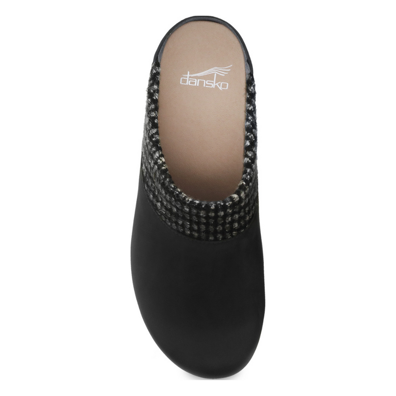 Dansko Bev Black Burnished Nubuck Clog