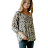 Sara Cream Floral Printed V-Neck Blouse