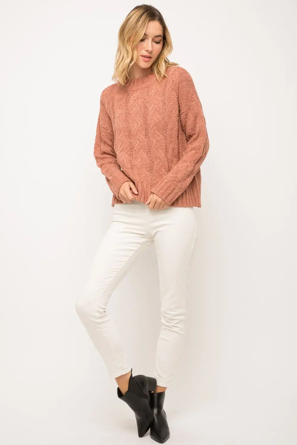 Drew Cable Knit Pullover Sweater Mauve