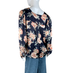 FRNCH Floral Navy Blouse