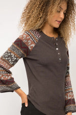 Freda Henley Sweater Top with Colorful Pattern Sleeves
