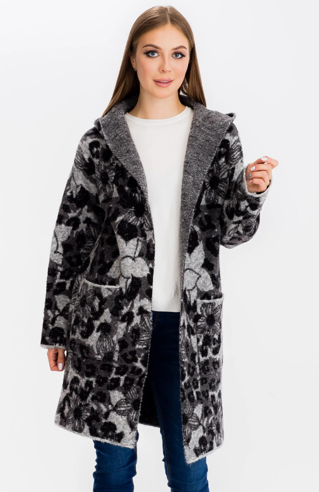 Harriet Grey Hoodie Coat