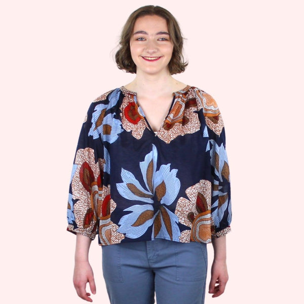 Claire Navy Blouse