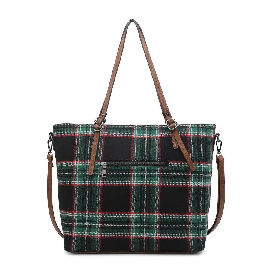 Ingrid Black Plaid Tote