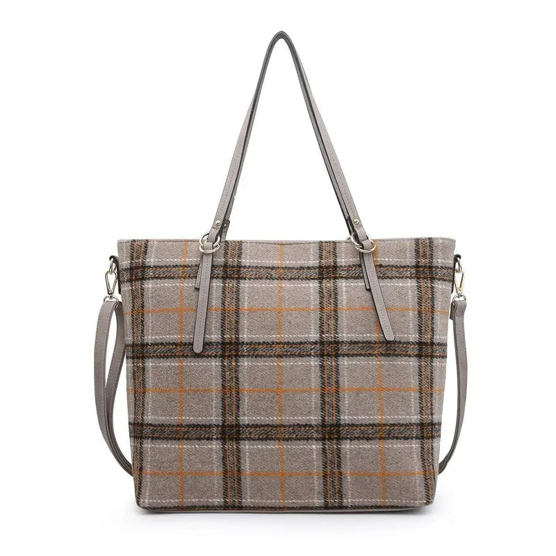 Ingrid Khaki Plaid Tote