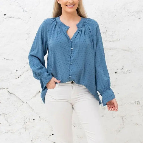 Cobblestone Living Layla Blue Dotted Swiss Blouse One Size