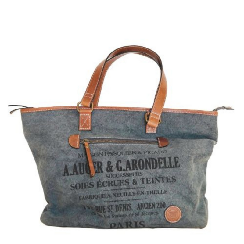 Le Papillon Auger Grey Canvas & Leather Bag