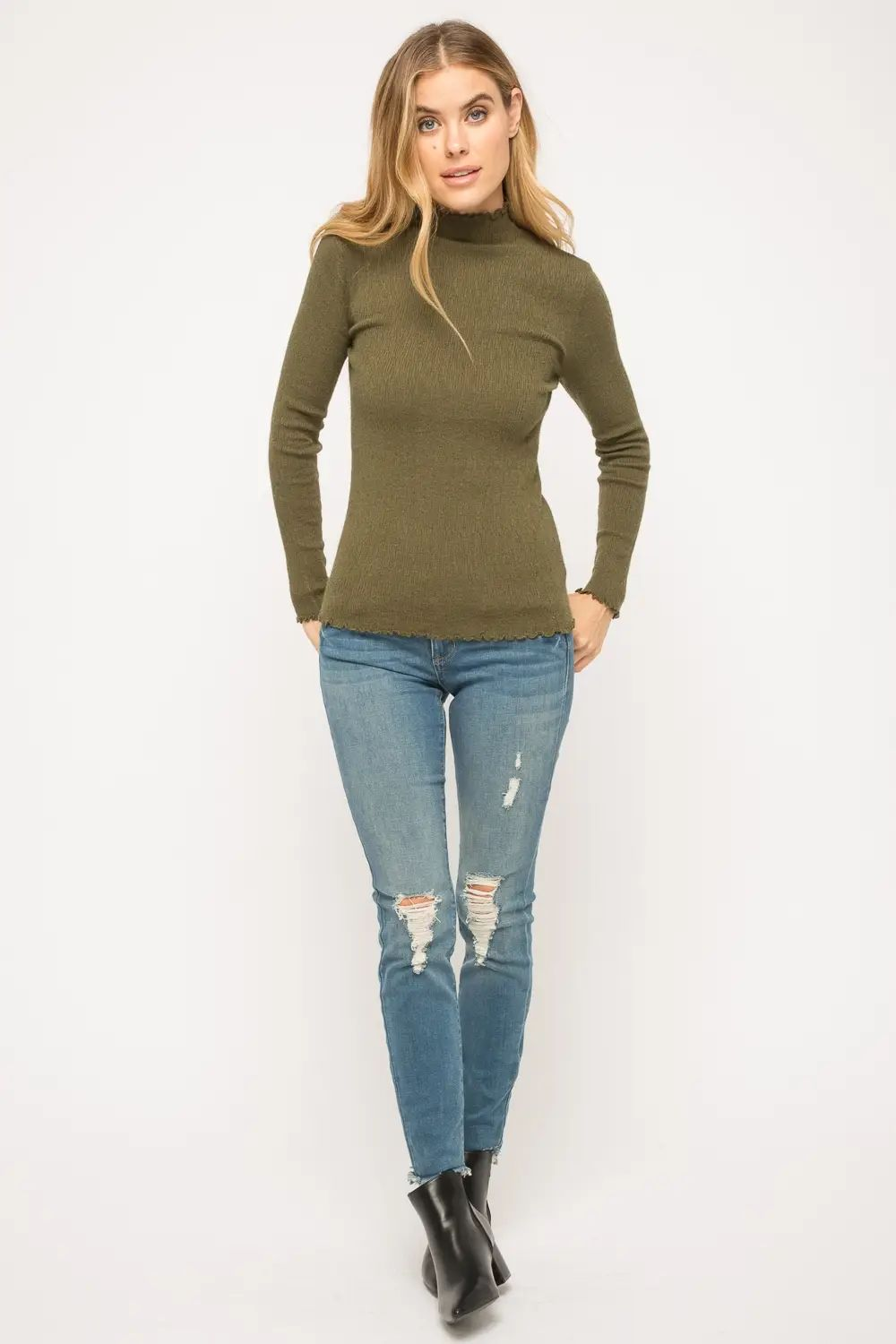 Lena Olive Mock Neck Pullover Sweater