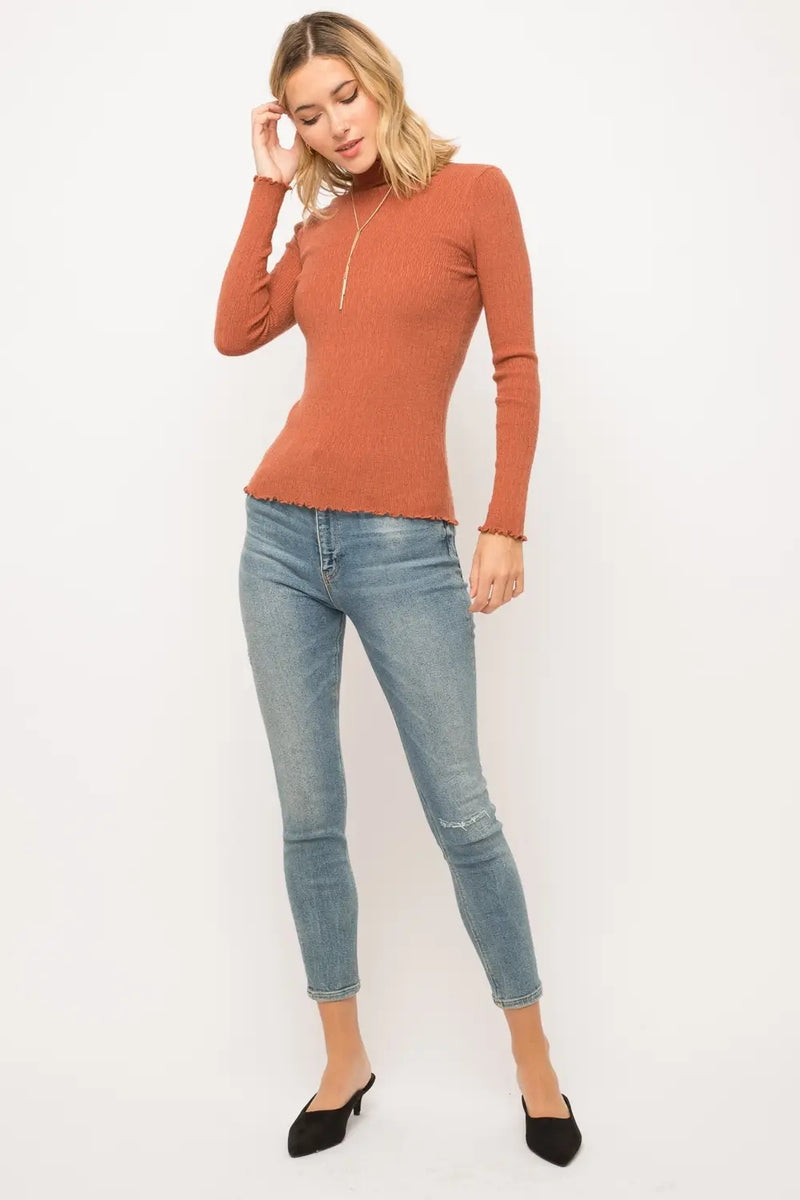 Lena Rust  Mock Neck Pullover Sweater