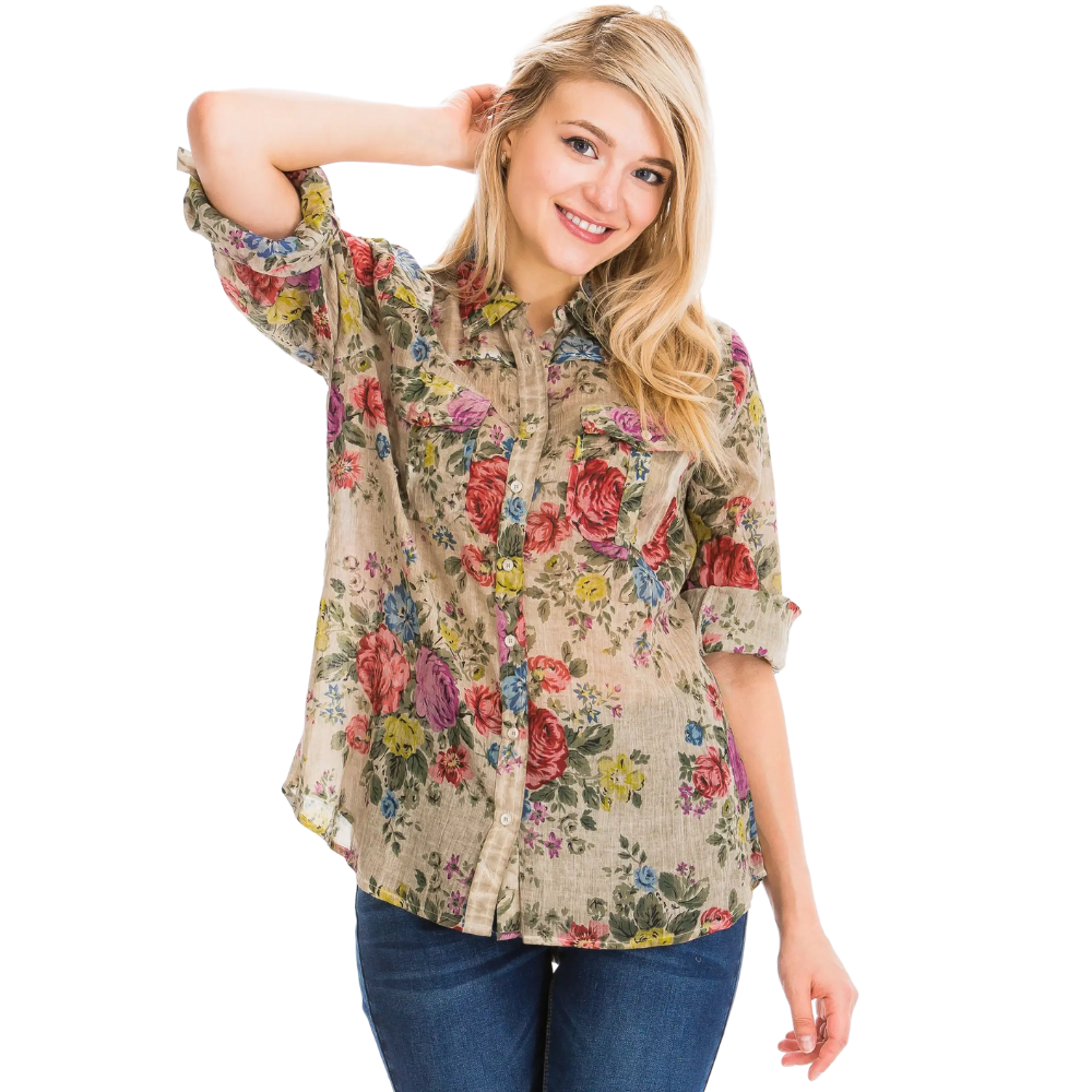 Lena Taupe Floral Shirt