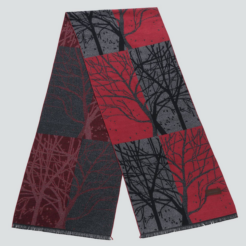 Forest Red, Black & Grey Scarf