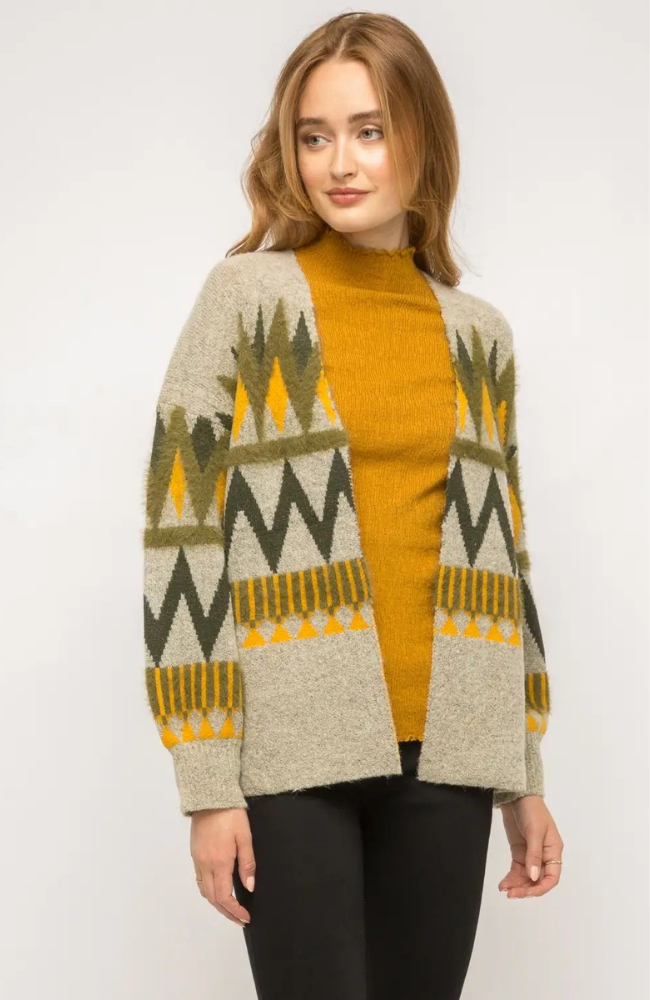 Mindy Chevron Open Knit Cardigan