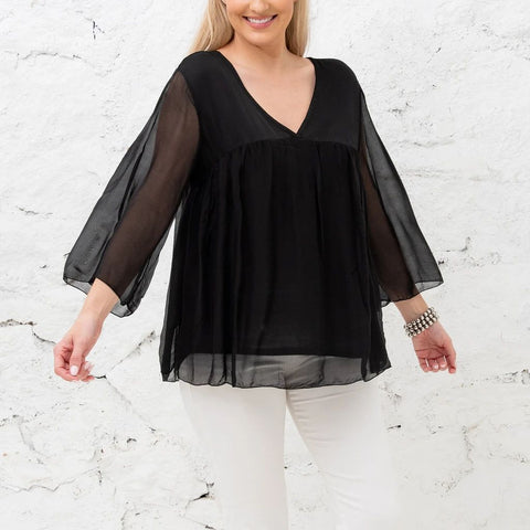 Cobblestone Living Natalia Black V-neck Mid Sleeve with Tie One Size
