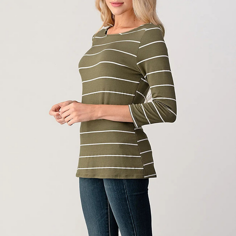 Gigi Striped Olive & White Top