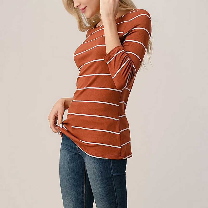 Gigi Striped Rust & White Top