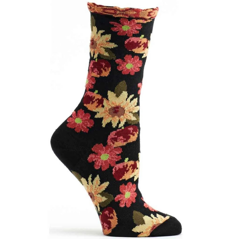 Ozone Design Petunia Pom Black Sock