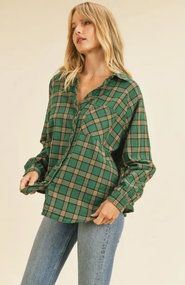 Erica Teal Flannel Shirt