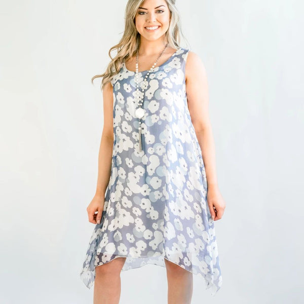 Cobblestone Living Phoebe Blue & White Print Silk Dress One Size