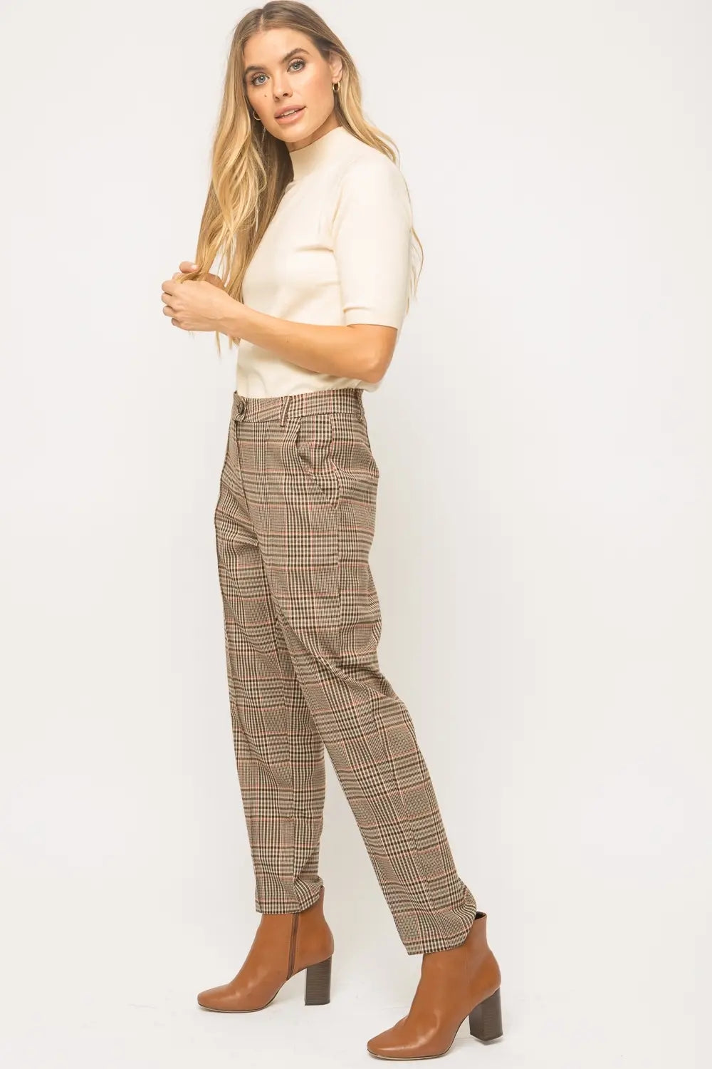 Sara Vintage High Waisted Plaid Pants